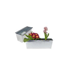 BigDean Blumenkasten Pflanzkasten Balkonkasten Europalette Blumenkübel verzinkt Pflanzkübel 35,5 x 12 x 12,5 cm Palettenmöbel Balkon Pflanztrog (1 Stück)