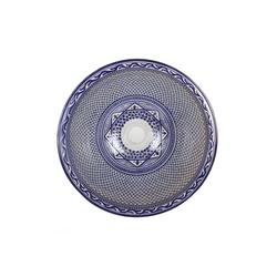 Casa Moro Waschbecken Mediterranes Keramik-Waschbecken Fes106 rund Ø 40 cm bunt Höhe 18 cm, Marokkanisches Handwaschbecken Aufsatzwaschbecken für Bad Waschtisch Gäste-WC, Handmade