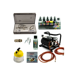 Airbrush-City Druckluftwerkzeug Fine-Art Airbrush Set - Ultra Two in One + Sparmax AC-500 Kompressor - Kit 9205, (1-St)