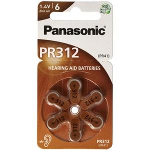 Panasonic PR312 Hörgerätebatterien PR-312/6LB, Hörgerätezellen 312 Zink Air 180mAh