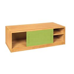BioKinder - Das gesunde Kinderzimmer Kommode Lina, Bettkommode 120 cm mit Schiebetür, Korpus Erle grün
