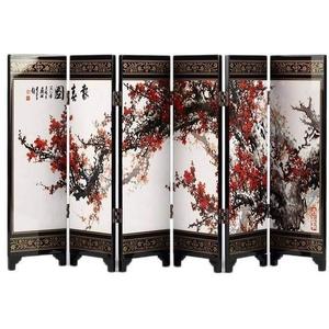 Paravent Asiatisch Miniatur – Motiv Frühlingsgreifer – Motiv Pflaumenblüten – Höhe 24 cm