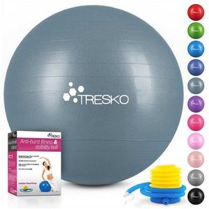 TRESKO Gymnastikball, Yogaball mit GRATIS Übungsposter inkl. Luftpumpe - Fitnessball BPA-Frei, Sitzball Büro, Sitzball Anti-Burst, 300 kg Belastbarkeit 75 cm