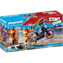 Playmobil® Spiel, PLAYMOBIL® Stuntshow Motorrad mit Feuerwand