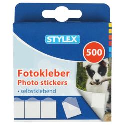 STYLEX® Fotokleber, Selbstklebende Fotoklebestreifen in praktischer Packung, 1 Packung = 500 Stück