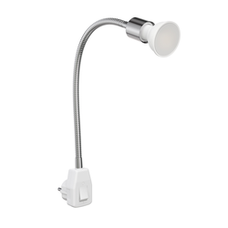 Steckdosenlampe LESCH Leselampe Schwanenhals, Schalter, Chrom inkl. GU10 LED Lampe 6,8W =40W 460lm 100° warm-weiß 2700 K