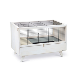 Kaninchenkäfig für Drinnen, 100 x 64,5 x 71,5 cm, weiss