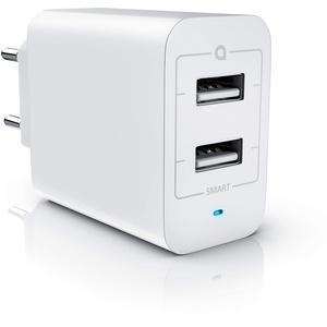 CSL - USB Netzteil Ladegerät Ladeadapter - 2 Port Adapter mit Power LED - 24 Watt 4800mA insgesamt max. 2400mA je Port - 2 Port USB USB Charger - Geeignet für Handy Smartphone Tablet - weiß