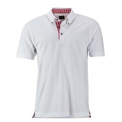 Klassisches Poloshirt im Trachtenlook   James & Nicholson weiß/rot/weiß XL