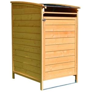 Mucola Mülltonnenbox Mülltonnenverkleidung Einzelbox Mülltonne 240L Gartenbox Anbaubox Holz Anbau Deckel Grau Braun Weiß Zinkdach Mülltonnenbox, mit Deckel braun