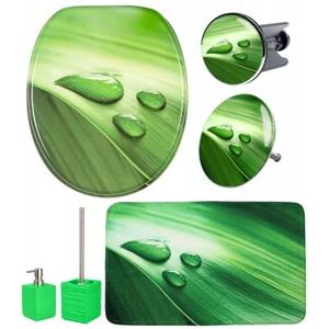 6-teiliges Badezimmer Set Green Leaf