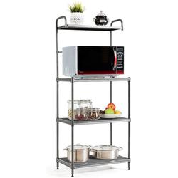 COSTWAY Küchenregal Mikrowellenregal 4-stufig mit verstellbaren Regalböden grau 34.5 cm x 136 cm x 60 cm