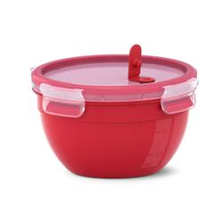 EMSA CLIP & MICRO Mikrowellendose, rund, Hochwertiges Mikrowellengefäß für allerlei Speisen, Fassungsvermögen: 1,1 Liter