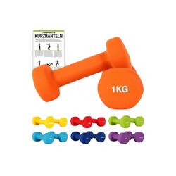 MSports® Hantel Hantelset Neopren 2er Set 0,5 – 5 kg Paar inkl. Übungsposter Kurzhanteln orange