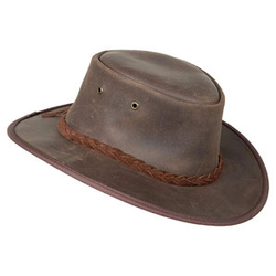 Barmah Hats Lederhut braun L