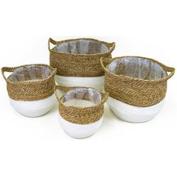 NOOR LIVING Aufbewahrungskorb (Set, 4 Stück), dekorative Aufbewahrung von verschiedenen Utensilien weiß