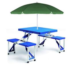 Deuba Campingtisch (1-St), Koffertisch mit 4 Sitzgelegenheiten • platzsparend klappbar • wetterfestes Alu Gestell • geringes Eigengewicht • mit Tragegriff • Sonnenschirmhalterung • leicht zu transportieren