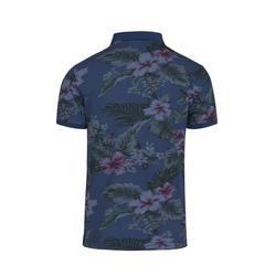 Lavard Blaues Poloshirt mit Blumen-Muster 72980  XL