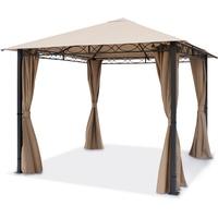TOOLPORT Gartenpavillon 3x3m Polyester mit PVC-Beschichtung 280 g/m² cappuccino wasserdicht