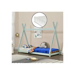 en.casa Kinderbett, Onejda Tipi Hausbett mit Kaltschaummatratze 90x200cm Mintgrün grün