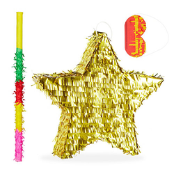 3 tlg. Pinata Set Stern, Weihnachtspinata, Stab, Augenmaske, Piñata Geburtstag gold