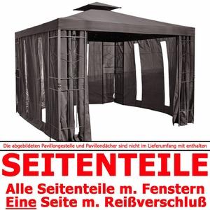4x Seitenteile + Fenster f. Pavillon Seiten Seitenwand Seitenwände Reißverschluß