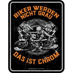 Rahmenlos Blechschild für den gestandenen Motorradfahrer bunt