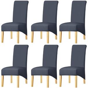 KELUINA Feste Gewebe-Ausdehnung XL-Stuhlhussen der hohen Rückseite für Esszimmer, Spandex-große Esszimmerstuhl-Schonbezüge für Hauptlebensrestaurant-Hotel (Dark Gray,Set of 6)