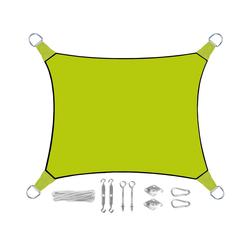 PEREL Sonnensegel, rechteckig 2x3m & 3x4m mit Ösen-Befestigung für Terrasse Balkon & Garten Sonnenschutz-Segel grün