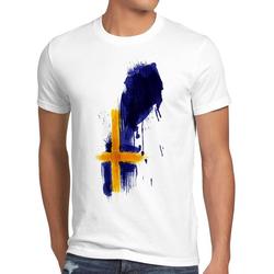 style3 Print-Shirt Herren T-Shirt Flagge Schweden Fußball Sport Sweden WM EM Fahne weiß M
