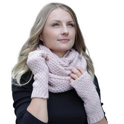 Hilltop Loop Winter Kombi Set aus Schal und wahlweise Handschuhe oder Handwärmer, 2-teilig, Strickschal & Strick-Handschuhe für Damen rosa