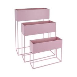 Koopmann Blumenkasten 3er-Set Stand-Blumenkasten 50 x 20 x 64 cm + 46 x rosa