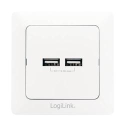 LogiLink Unterputz-Dose mit 2x USB-Port
