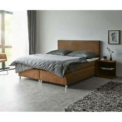 Bett Cloud Braun 160x200 cm Kingsize Matratze Topper Federkern Microvelours