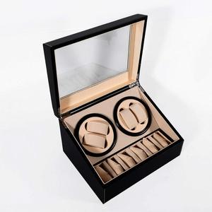 Uhrenbeweger Watch Winder für Uhren Uhrenvitrine Uhrenbox Automatische Uhrenbeweger Laufleise • Sichtfenster • Elegantes Design (Schwarz Leder 4+6)