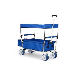 Waldbeck Bollerwagen The Blue Supreme Bollerwagen Handwagen faltbar 68kg Sonnendach blau
