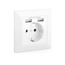 deleyCON deleyCON 1x Einbausteckdose mit 2x USB Wandsteckdose Schutzkontakt Steckdose Stromadapter