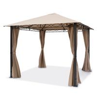 TOOLPORT Gartenpavillon 3x3m Polyester mit PU-Beschichtung 280 g/m² cappuccino
