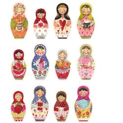 Wall-Art Wandtattoo Matroschka Bunte Blumen Familie (1 Stück) 21 cm x 30 cm x 0,1 cm