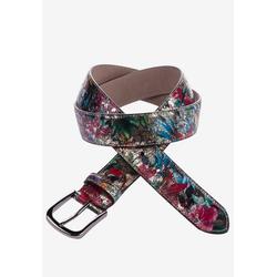 Cipo & Baxx Ledergürtel mit Blumen-Muster 80