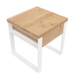 KUNSTLOFT Nachttisch Kunigunde, handgefertigter Beistelltisch aus Wildeiche und Metall