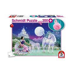 Schmidt Spiele Puzzle Puzzle Einhorn, 200 Teile + Puschel-Anhänger, Puzzleteile