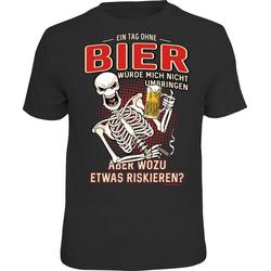 Rahmenlos T-Shirt mit lustigem Bier-Print - Ein Tag ohne Bier würde mich schwarz XXL
