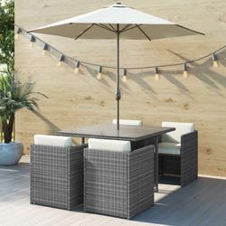 GRADE A1 - Grey Rattan 6 Piece Cube Garden Furniture Dining Set - Parasol Included