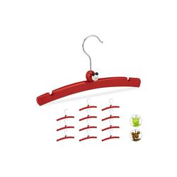relaxdays Kleiderbügel 12 Kleiderbügel für Kinder mit Tierfigur rot