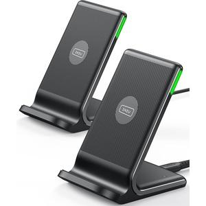 INIU Wireless Charger [2 Pack], 15W Schnellladeständer Kabellose Ladestation Qi-Zertifiziert Ladegerät Kompatibel mit iPhone 13 12 11 Pro Max Xr X 8 Samsung Galaxy S21 S20 S10 S9 S8 Note10 AirPods usw