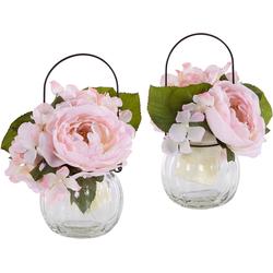 Kunstpflanze Rosen im Glas Rosen, I.GE.A., Höhe 18 cm