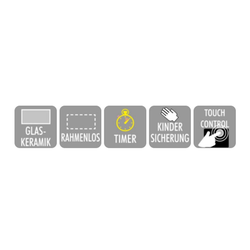 PKM Elektro-Kochfeld KF4-2KB, Glaskeramikkochfeld Touch Control Autark