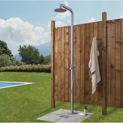 Gartendusche mit Handdusche und Regenduschkopf gebürsteter Stahl
