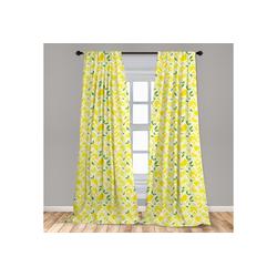 Gardine Vorhang für Wohnzimmer Schlafzimmer Dekor, Abakuhaus, Zitrone Cartoon Zitronen Zigzags 150 cm x 175 cm